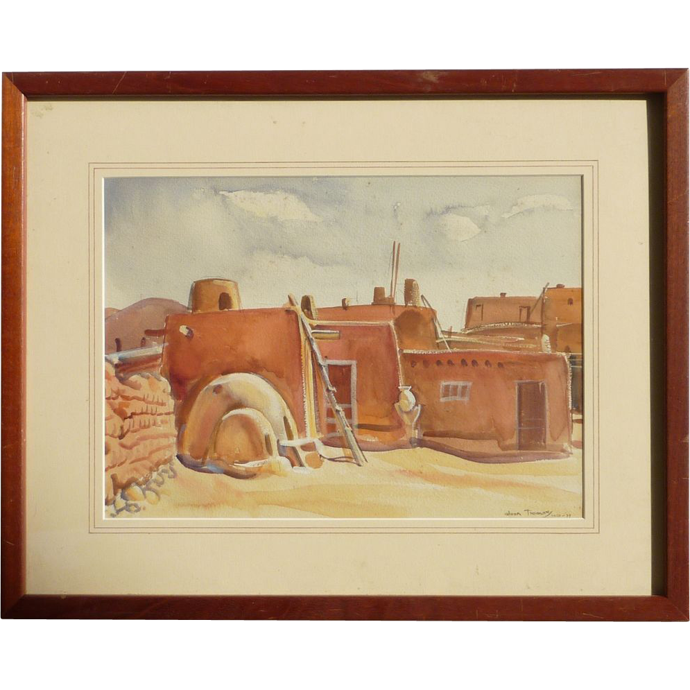 Southwestern Art Taos New Mexico Watercolor Painting Of