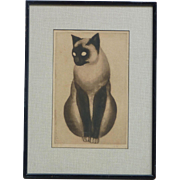 French artist ORSI vintage pencil signed photographic print of striking cat