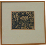 SOLD Orville N. Fisher (1911 -199) pencil signed etching print by noted Canadian artist