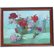 Joan Horsfall Young contemporary California impressionist artist floral still life roses oil p