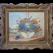 Keist Vukovic Czech listed artist still life flowers in mountains landscape oil painting