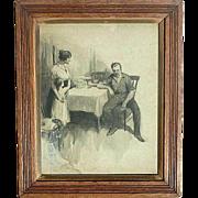 "1907 original illustration art initialed ""P.G."" watercolor gouache painting drawing"