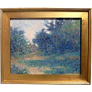 Vintage impressionist signed blue landscape oil on canvas painting