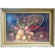Florine A. Hyer (1868 - 1936) still life oil painting of pink yellow red roses by listed Ameri