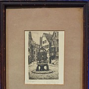 Etching Stuttgart (Germany) city scene 19th Century signed