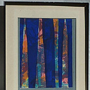 Colorful modern 20th Century  abstract print signed by the artist  Josephine Young Kopenhaver