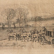 19th Century framed etching carriage by the river probably French