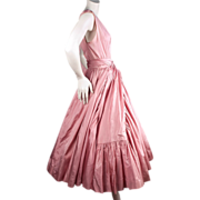 SOLD 1950's Hubert de Givenchy Couture Pink Silk Dress No. 4410