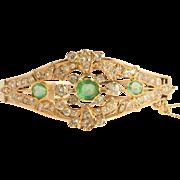 Emerald Diamond Bracelet Belle Époque 15K 16k Rose Gold