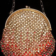 SOLD French Mesh Purse with Dazzling Rhinestone Ombre, 1920's