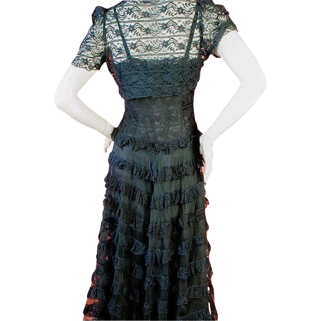1930's Black Lace and Tulle Gown and Lace Bolero Jacket