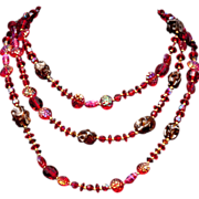 SALE PENDING Hattie Carnegie Resplendent Red Crystal  Art Glass 60 In Sautoir Necklace