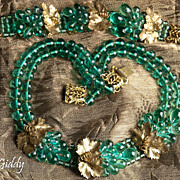 French Masterpiece 1920's Emerald  Poured Glass Parure