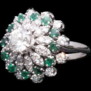 Majestic 18K White Gold Emerald Diamond Cluster Ring mid Century