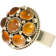 Carmen Beckmann Sterling & Amber Domed Ring ca 1960's