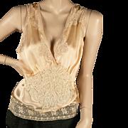 1930's  Peach Silk Camisole Three Laces