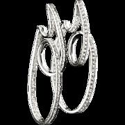 18k White Gold 2.2 Ct. Diamond Hoop Earrings