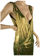 SOLD Exceptional 1920's Gold Lame Beaded Dress Great Sz