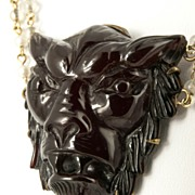 SOLD Carved Cherry Amber Lion Necklace ca 1930