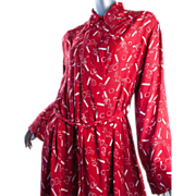 SALE PENDING 1940s Rayon Dress Smoking Cigarette Fab Red Great Size