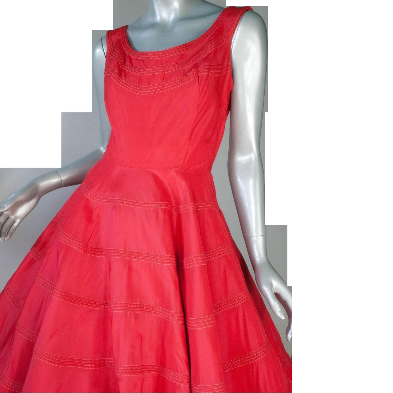 1950's Red  Parachute Taffeta Dress 36B 27W