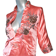 1950's Custom Made Silk Satin Chinese Jacket
