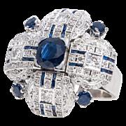 SALE Large 18k White Gold Diamond & Sapphire Ring