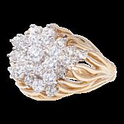 SALE 18k Gold Kwiat Diamond Cluster Ring Vintage