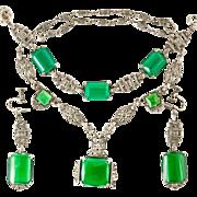 Art Deco Sterling Green Chrysoprase Marcasite Parure