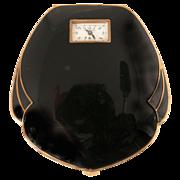 Art Deco Enamel Compact Illinois Watch Case Co. Weldwood Watch as is Original