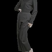 Chanel France Classic Black Laine Wool Pants Sz 42 1970's