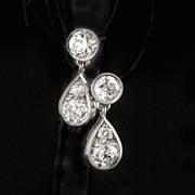 SOLD Antique Diamond & Platinum Drop Earrings .97 Ct