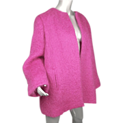 SOLD 1980's Yves Saint Laurent Mohair Fuchsia Pink Jacket  Rive Gauche Paris