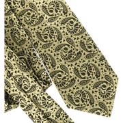 SOLD Gilbert Adrian 1950's Silk Damask Tie Golden Khaki