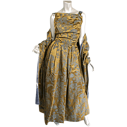 SOLD 1950's Christian Dior Gown and Wrap *Doupioni Silk Damask *Golden Olive & Slate Blue *New