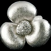 Large Sterling Ring Rhinestones Rhodium Plate
