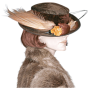 1930s Bird of Paradise Beaver Hat  22 3/4