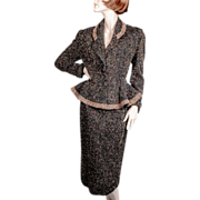 "SOLD 1950's Lilli Ann Original Peplum Suit "" *Black Wool Flecked"