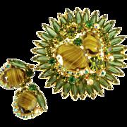 Juliana D&E Gorgeous Tiered Domed Brooch Earrings
