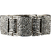 SOLD Ultimate Art Deco Silver Rhodium Marcasite Bracelet ca 1930