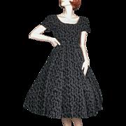 SOLD 1950's Madeleine Fauth Black Velvet Embroidered Dress