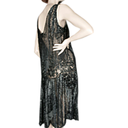1920's Black Beaded Sequin Flapper Dress