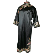 1930's Handmade Chinese Embroidered Silk Dress Medium Petite