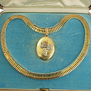 Rare 18K Gold Victorian French Necklace Jeweled Locket