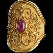 Vintage 18K Gold Ruby Ring Etruscan Revival