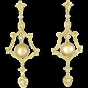 SALE 18k Gold Golden South Sea Cultured Pearl Diamond Earrings