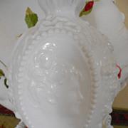 "REDUCED Vintage Fosteria ""Jenny Lind""Milk Glass Ornate Bottle With Stopper"