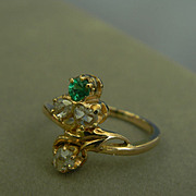 14k Rose Cut Diamond and Emerald Ring