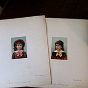 "2 Original French Chromolithographs, 1880's, 2 ½"" x 3 ½"""
