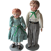 SOLD Tin Head Minerva Boy and Girl